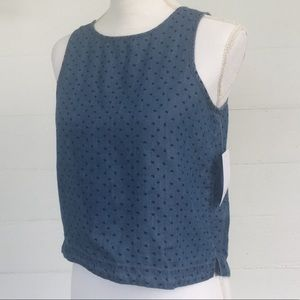 LOVE, FIRE Denim Look Top With All over Hearts NWT